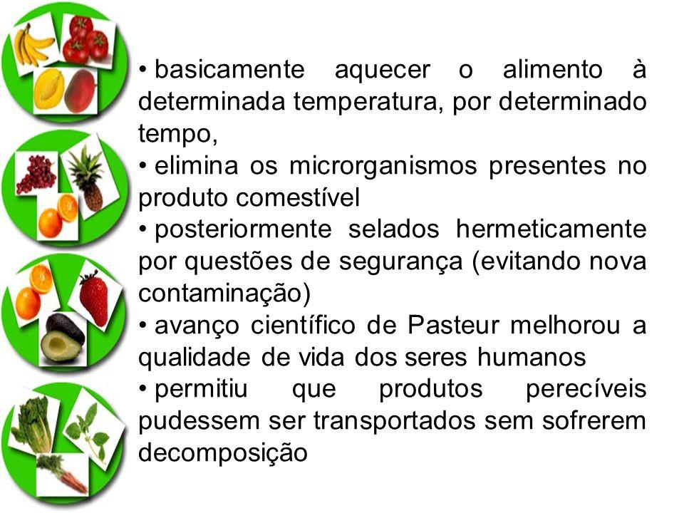 Vantagens da pasteurização Evita transmissão de doenças; Elimina bactérias indesejáveis; Prolonga a vida útil dos alimentos; Beneficia a tecnologia e qualidade dos alimentos
