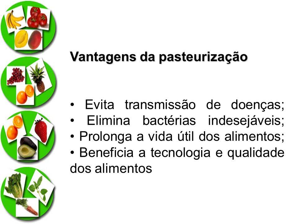 Vantagens da pasteurização Evita transmissão de doenças; Elimina bactérias indesejáveis; Prolonga a vida útil dos alimentos; Beneficia a tecnologia e