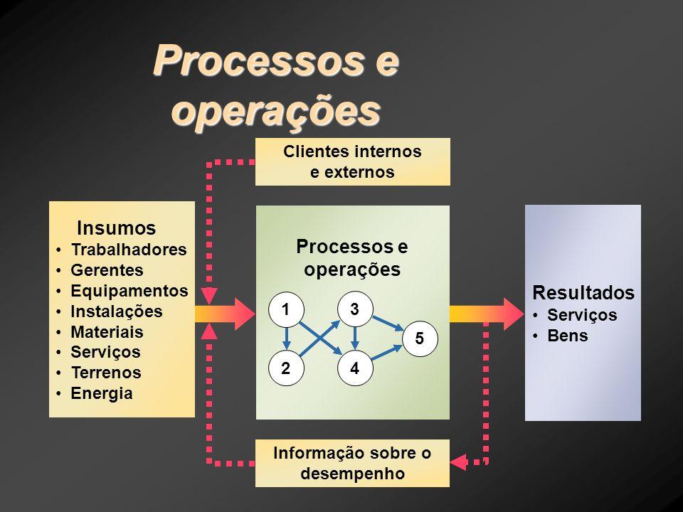 Resultados Serviços Bens Clientes internos e externos Informação sobre o desempenho Processos e operações 5 1 2 3 4 Insumos Trabalhadores Gerentes Equ