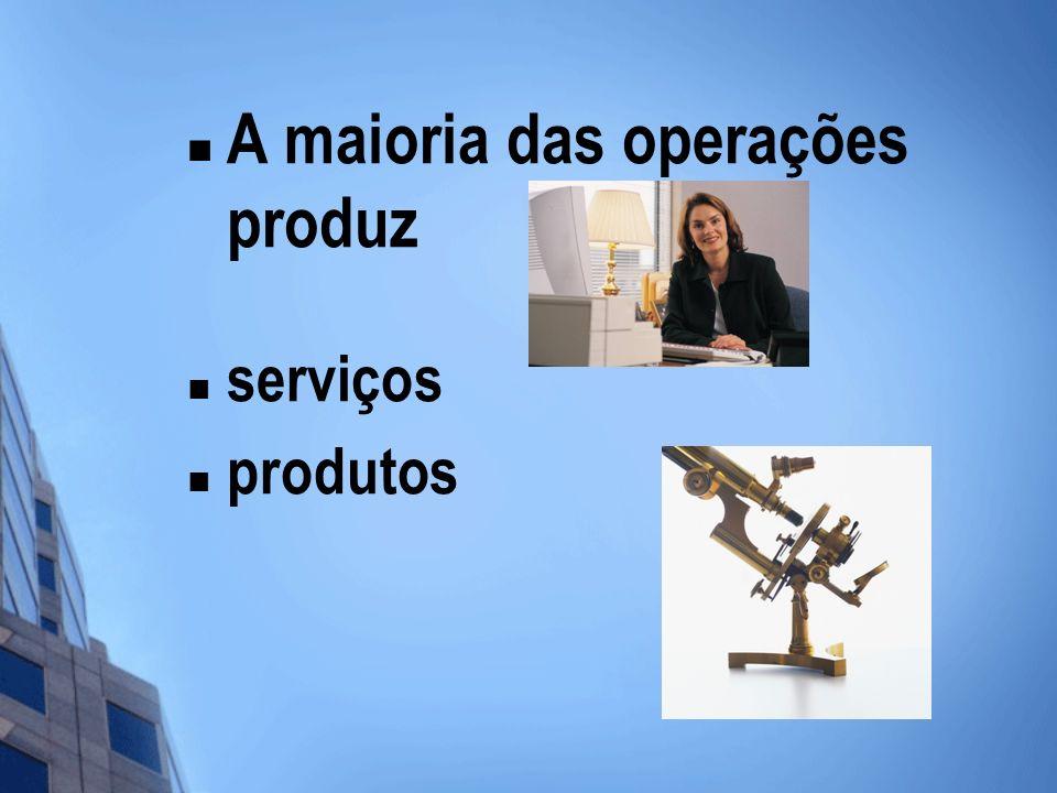 A maioria das operações produz serviços produtos