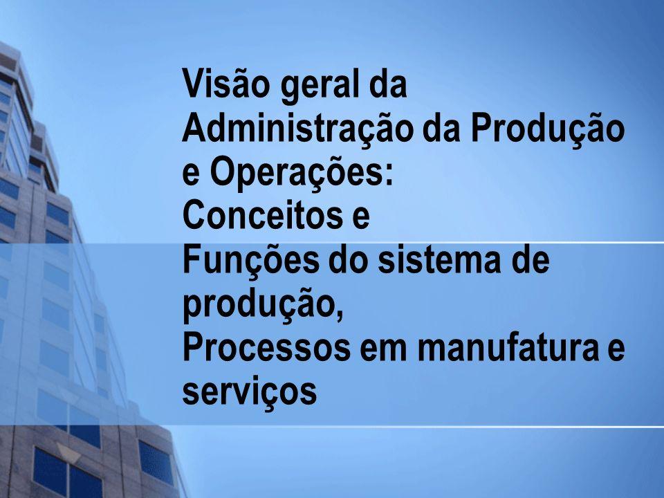 Visão geral da Administração da Produção e Operações: Conceitos e Funções do sistema de produção, Processos em manufatura e serviços