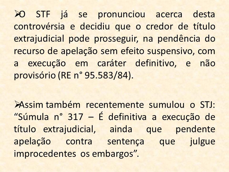 O STF já se pronunciou acerca desta controvérsia e decidiu que o credor de título extrajudicial pode prosseguir, na pendência do recurso de apelação s