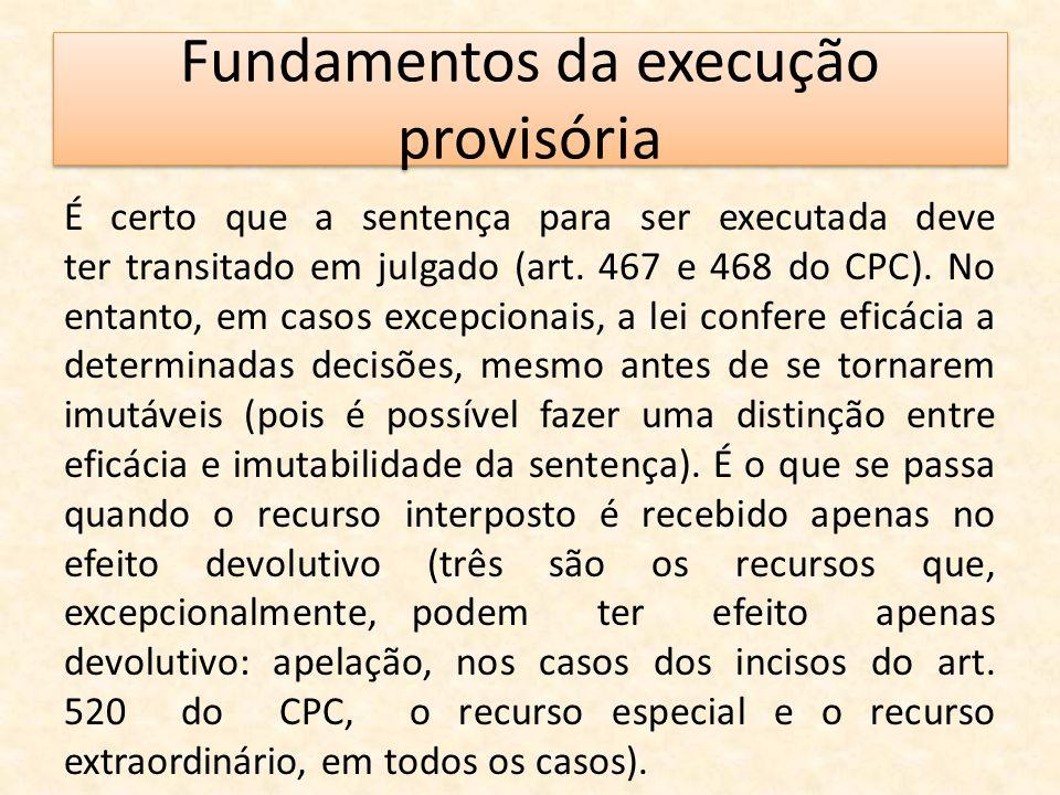 Fundamentos da execução provisória É certo que a sentença para ser executada deve ter transitado em julgado (art. 467 e 468 do CPC). No entanto, em ca