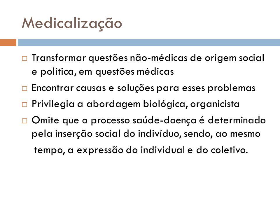 Medicalização Transformar questões não-médicas de origem social e política, em questões médicas Encontrar causas e soluções para esses problemas Privi