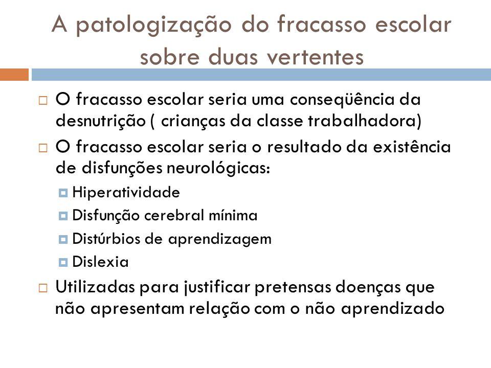 Patologização e biologização Quais os principais efeitos da medicalização e patologização dos problemas escolares.