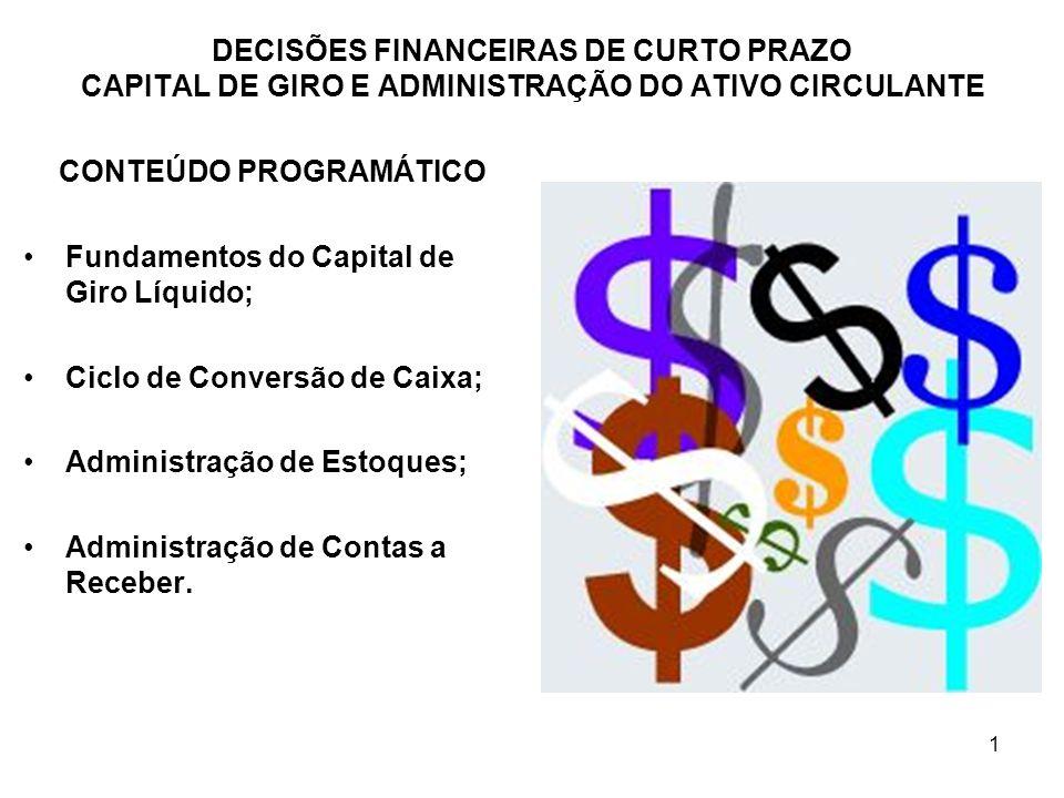 62 DECISÕES FINANCEIRAS DE CURTO PRAZO CAPITAL DE GIRO E ADMINISTRAÇÃO DO ATIVO CIRCULANTE VOLUME DE VENDAS Alterações nos padrões de crédito: Padrões crédito afrouxados => crescimento de vendas; Padrões crédito arrochados => redução de vendas.
