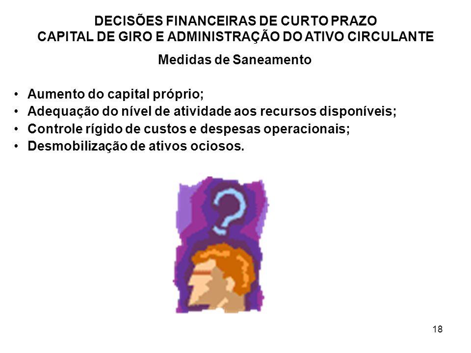 18 DECISÕES FINANCEIRAS DE CURTO PRAZO CAPITAL DE GIRO E ADMINISTRAÇÃO DO ATIVO CIRCULANTE Medidas de Saneamento Aumento do capital próprio; Adequação