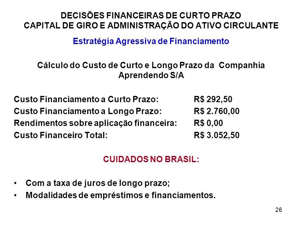26 DECISÕES FINANCEIRAS DE CURTO PRAZO CAPITAL DE GIRO E ADMINISTRAÇÃO DO ATIVO CIRCULANTE Estratégia Agressiva de Financiamento Cálculo do Custo de C