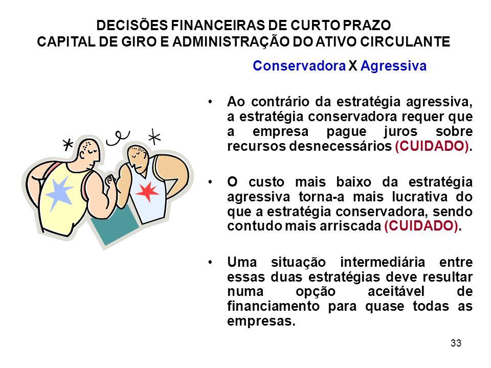 33 DECISÕES FINANCEIRAS DE CURTO PRAZO CAPITAL DE GIRO E ADMINISTRAÇÃO DO ATIVO CIRCULANTE Conservadora X Agressiva Ao contrário da estratégia agressi