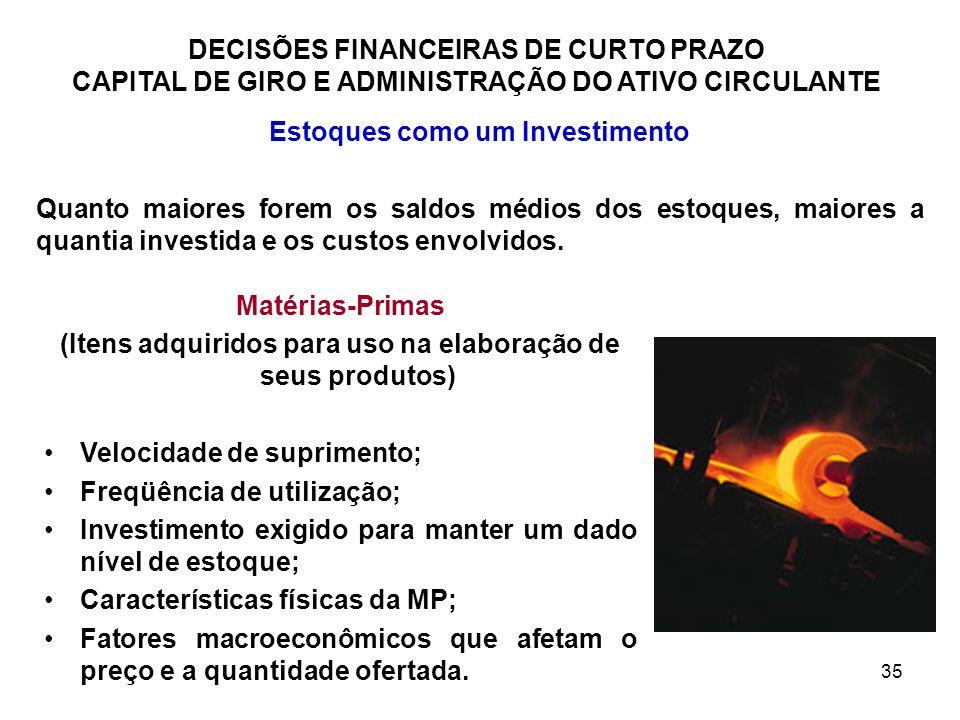 35 DECISÕES FINANCEIRAS DE CURTO PRAZO CAPITAL DE GIRO E ADMINISTRAÇÃO DO ATIVO CIRCULANTE Estoques como um Investimento Quanto maiores forem os saldo