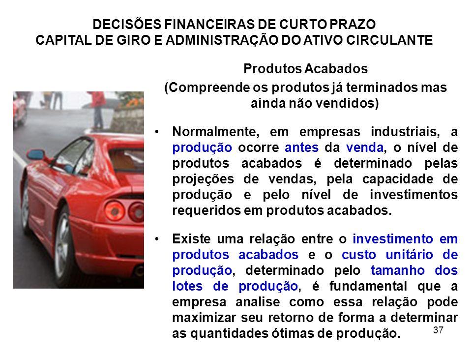 37 DECISÕES FINANCEIRAS DE CURTO PRAZO CAPITAL DE GIRO E ADMINISTRAÇÃO DO ATIVO CIRCULANTE Produtos Acabados (Compreende os produtos já terminados mas