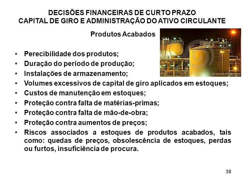 38 Produtos Acabados Perecibilidade dos produtos; Duração do período de produção; Instalações de armazenamento; Volumes excessivos de capital de giro