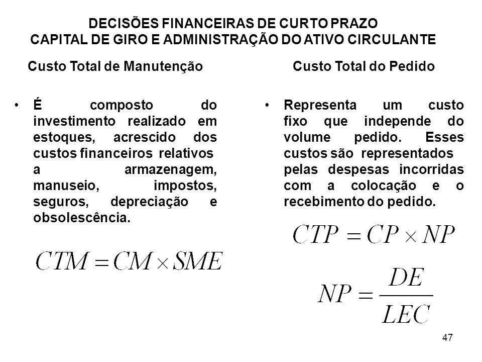 47 DECISÕES FINANCEIRAS DE CURTO PRAZO CAPITAL DE GIRO E ADMINISTRAÇÃO DO ATIVO CIRCULANTE Custo Total de Manutenção É composto do investimento realiz