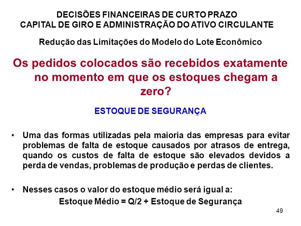 49 DECISÕES FINANCEIRAS DE CURTO PRAZO CAPITAL DE GIRO E ADMINISTRAÇÃO DO ATIVO CIRCULANTE Redução das Limitações do Modelo do Lote Econômico Os pedid
