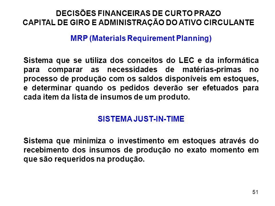 51 DECISÕES FINANCEIRAS DE CURTO PRAZO CAPITAL DE GIRO E ADMINISTRAÇÃO DO ATIVO CIRCULANTE MRP (Materials Requirement Planning) Sistema que se utiliza