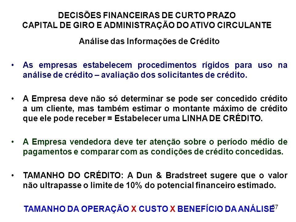 57 DECISÕES FINANCEIRAS DE CURTO PRAZO CAPITAL DE GIRO E ADMINISTRAÇÃO DO ATIVO CIRCULANTE Análise das Informações de Crédito As empresas estabelecem