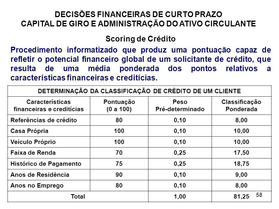 58 DECISÕES FINANCEIRAS DE CURTO PRAZO CAPITAL DE GIRO E ADMINISTRAÇÃO DO ATIVO CIRCULANTE Scoring de Crédito Procedimento informatizado que produz um