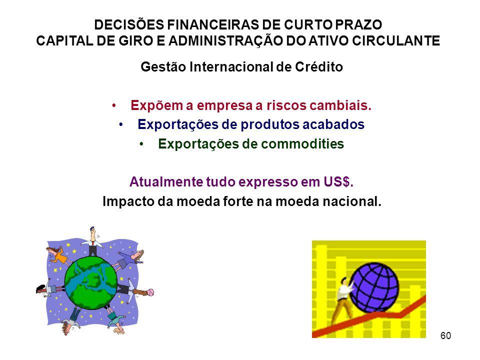 60 DECISÕES FINANCEIRAS DE CURTO PRAZO CAPITAL DE GIRO E ADMINISTRAÇÃO DO ATIVO CIRCULANTE Gestão Internacional de Crédito Expõem a empresa a riscos c