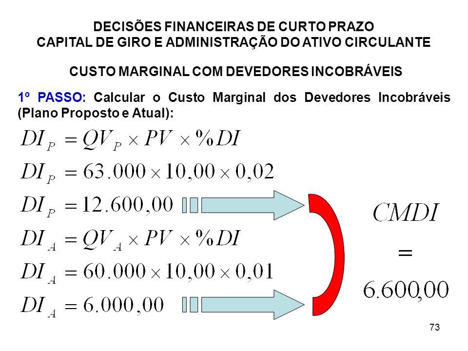 73 DECISÕES FINANCEIRAS DE CURTO PRAZO CAPITAL DE GIRO E ADMINISTRAÇÃO DO ATIVO CIRCULANTE CUSTO MARGINAL COM DEVEDORES INCOBRÁVEIS 1º PASSO: Calcular