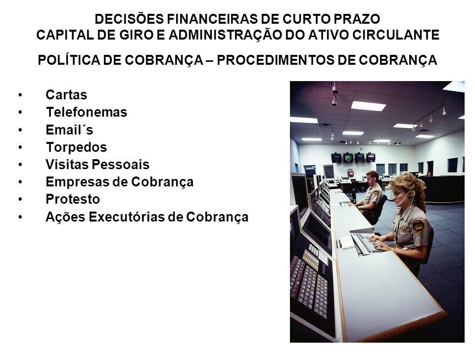 80 DECISÕES FINANCEIRAS DE CURTO PRAZO CAPITAL DE GIRO E ADMINISTRAÇÃO DO ATIVO CIRCULANTE POLÍTICA DE COBRANÇA – PROCEDIMENTOS DE COBRANÇA Cartas Tel