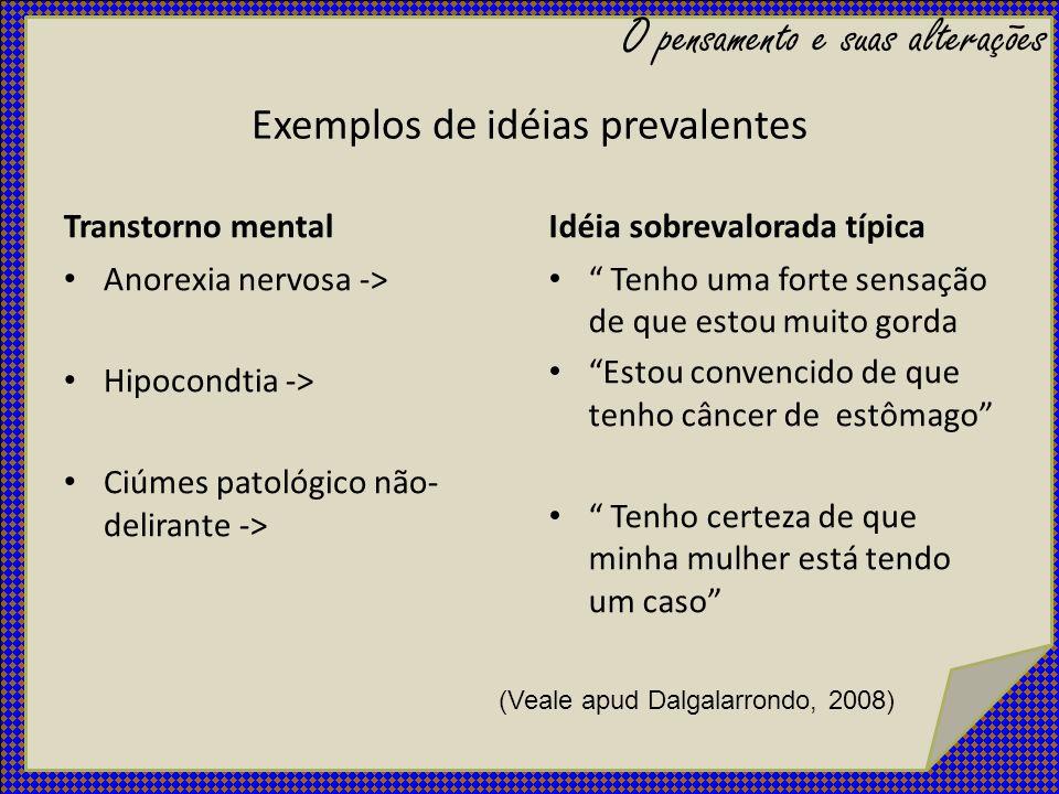 Exemplos de idéias prevalentes Transtorno mental Anorexia nervosa -> Hipocondtia -> Ciúmes patológico não- delirante -> Idéia sobrevalorada típica Ten