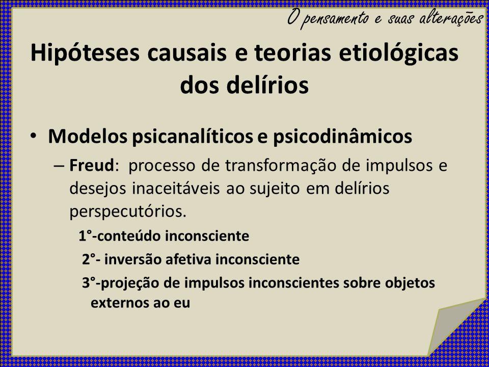 Hipóteses causais e teorias etiológicas dos delírios Modelos psicanalíticos e psicodinâmicos – Freud: processo de transformação de impulsos e desejos