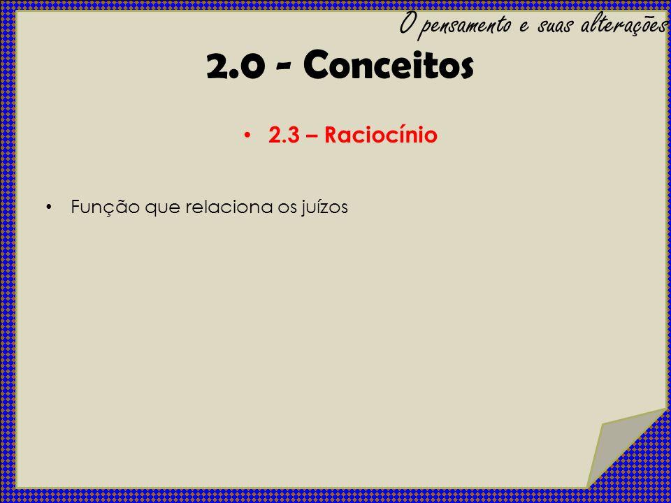 2.4 – Processo de pensar – Curso: Velocidade e ritmo de como o pensamento flui – Forma: Conteúdos e interesses – Conteúdo: Temas, o assunto em si O pensamento e suas alterações 2.0 - Conceitos