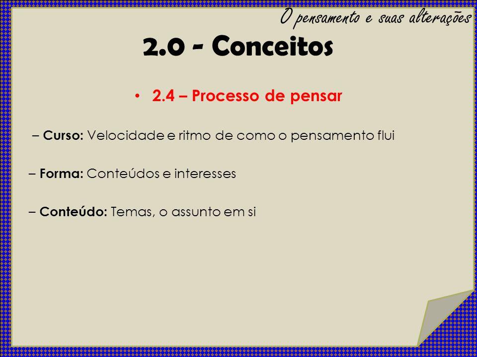 2.4 – Processo de pensar – Curso: Velocidade e ritmo de como o pensamento flui – Forma: Conteúdos e interesses – Conteúdo: Temas, o assunto em si O pe