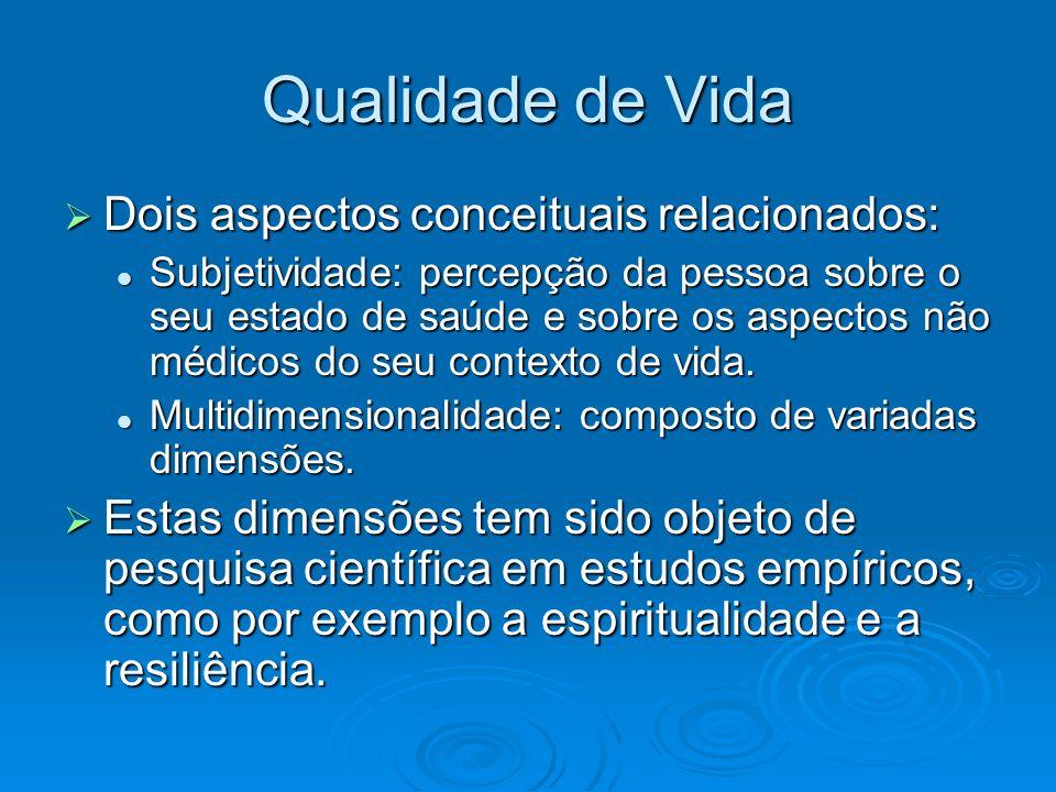 Qualidade de Vida Dois aspectos conceituais relacionados: Dois aspectos conceituais relacionados: Subjetividade: percepção da pessoa sobre o seu estad