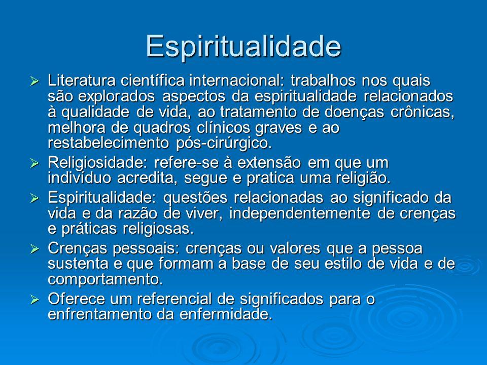 Espiritualidade Literatura científica internacional: trabalhos nos quais são explorados aspectos da espiritualidade relacionados à qualidade de vida,