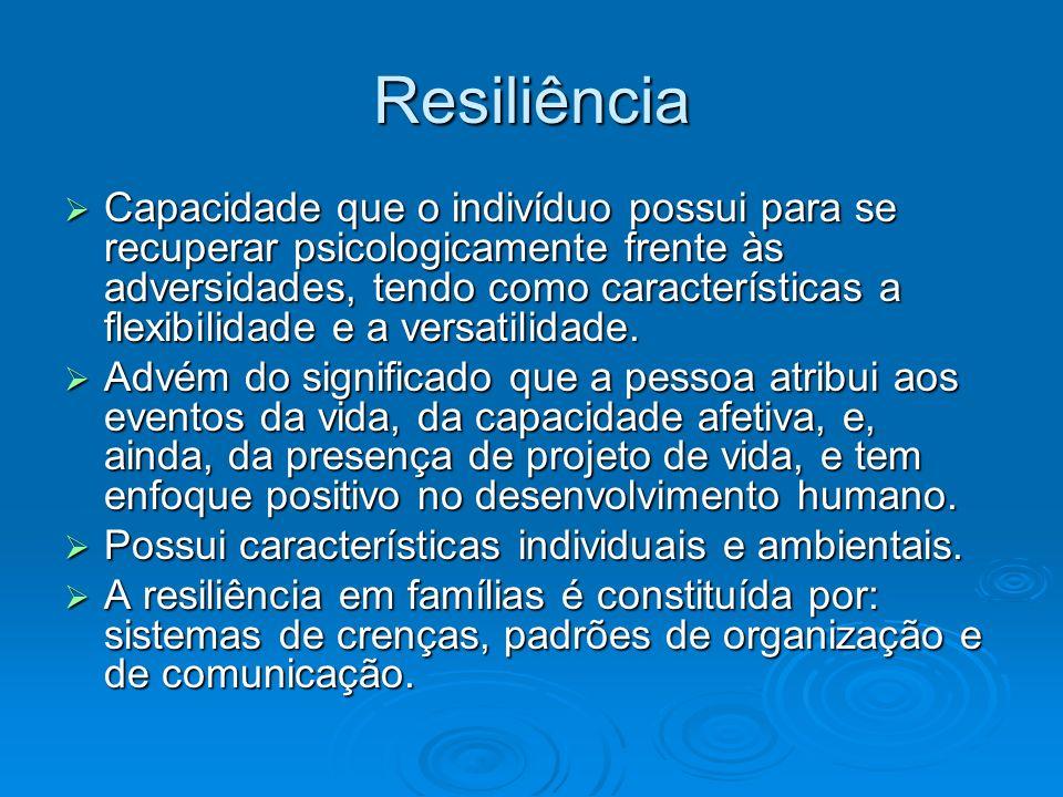 Resiliência Capacidade que o indivíduo possui para se recuperar psicologicamente frente às adversidades, tendo como características a flexibilidade e