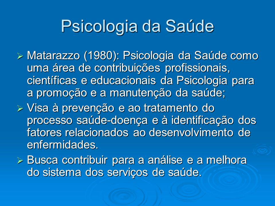 Psicologia da Saúde Matarazzo (1980): Psicologia da Saúde como uma área de contribuições profissionais, científicas e educacionais da Psicologia para