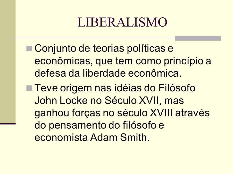 LIBERALISMO Conjunto de teorias políticas e econômicas, que tem como princípio a defesa da liberdade econômica. Teve origem nas idéias do Filósofo Joh