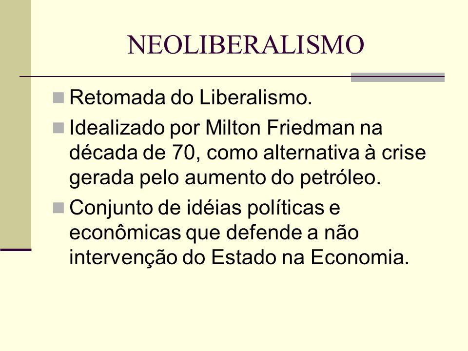 NEOLIBERALISMO Retomada do Liberalismo. Idealizado por Milton Friedman na década de 70, como alternativa à crise gerada pelo aumento do petróleo. Conj