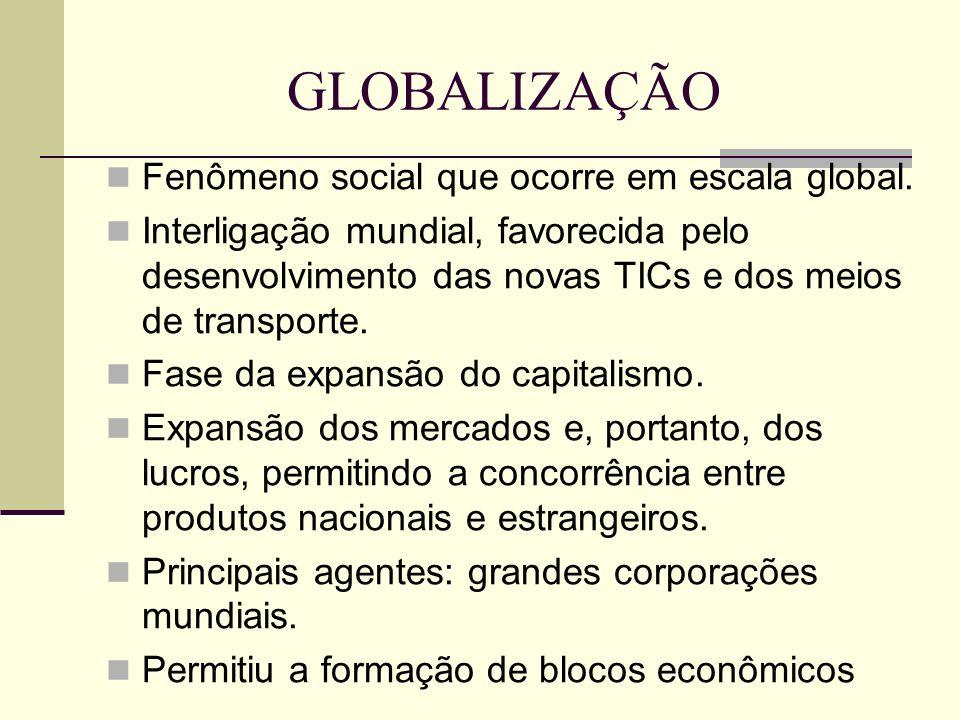 GLOBALIZAÇÃO Fenômeno social que ocorre em escala global. Interligação mundial, favorecida pelo desenvolvimento das novas TICs e dos meios de transpor