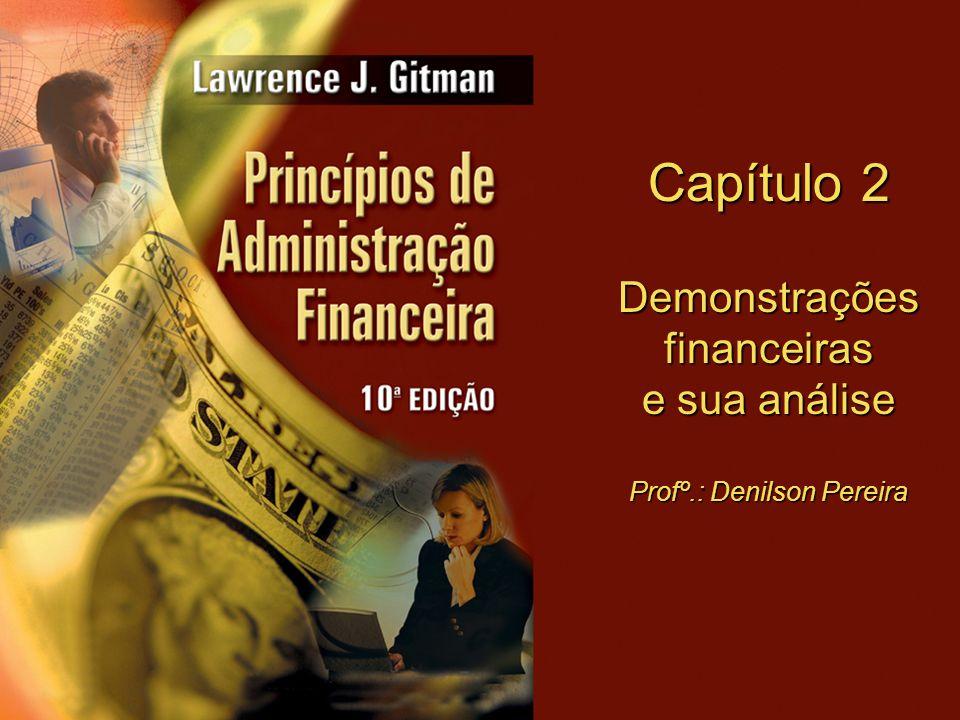 Capítulo 2 Demonstrações financeiras e sua análise Profº.: Denilson Pereira
