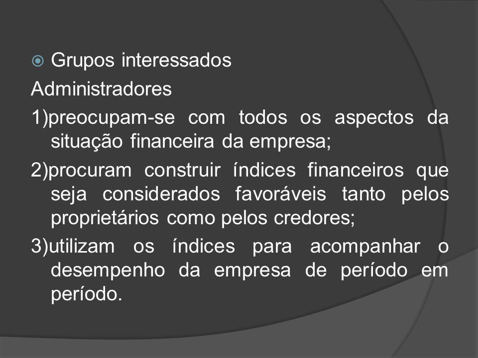 Grupos interessados Administradores 1)preocupam-se com todos os aspectos da situação financeira da empresa; 2)procuram construir índices financeiros q