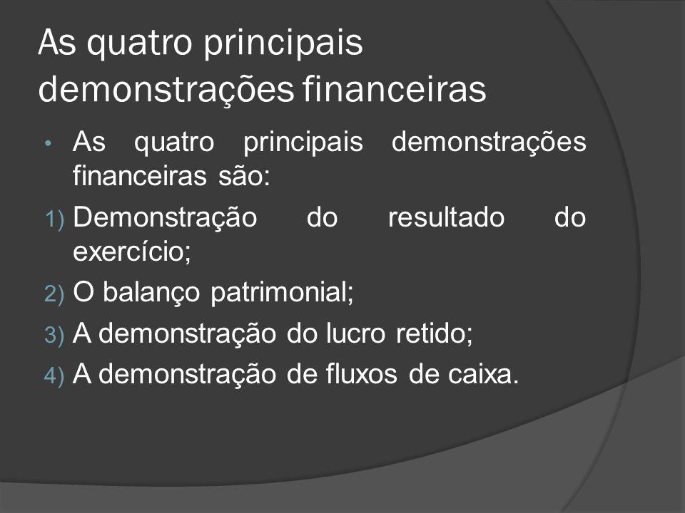 As quatro principais demonstrações financeiras As quatro principais demonstrações financeiras são: 1) Demonstração do resultado do exercício; 2) O bal