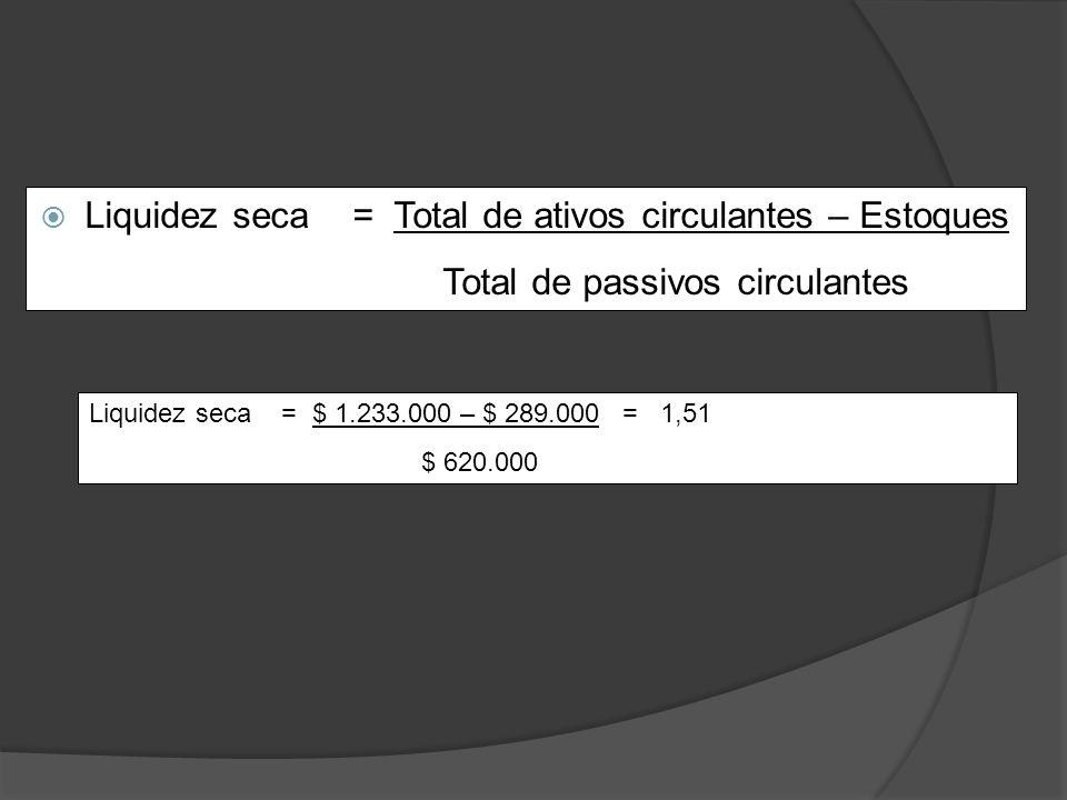 Liquidez seca = Total de ativos circulantes – Estoques Total de passivos circulantes Liquidez seca = $ 1.233.000 – $ 289.000= 1,51 $ 620.000