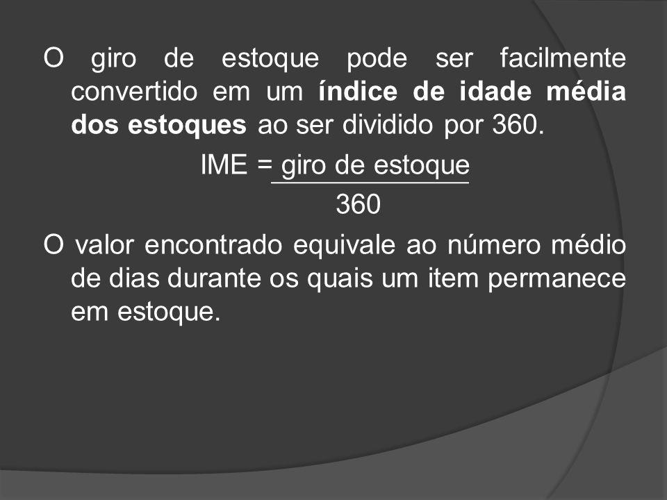 O giro de estoque pode ser facilmente convertido em um índice de idade média dos estoques ao ser dividido por 360. IME = giro de estoque 360 O valor e