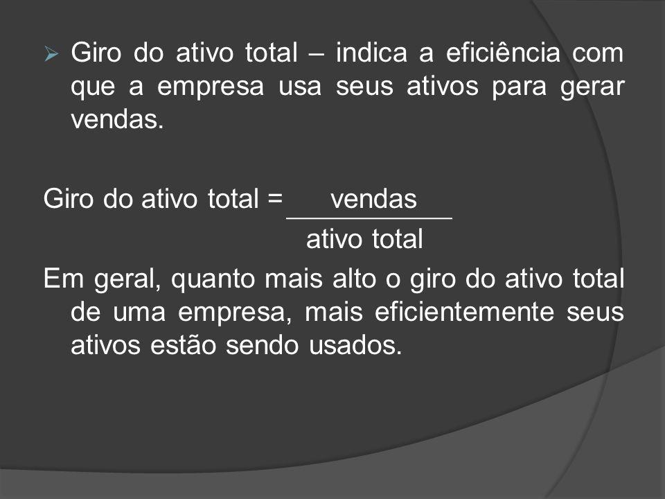 Giro do ativo total – indica a eficiência com que a empresa usa seus ativos para gerar vendas. Giro do ativo total = vendas ativo total Em geral, quan