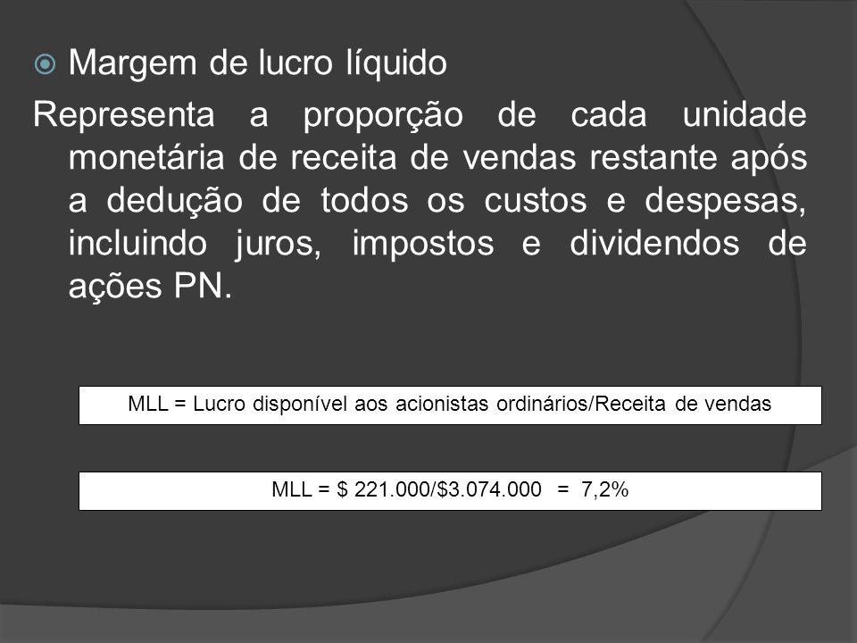 Margem de lucro líquido Representa a proporção de cada unidade monetária de receita de vendas restante após a dedução de todos os custos e despesas, i