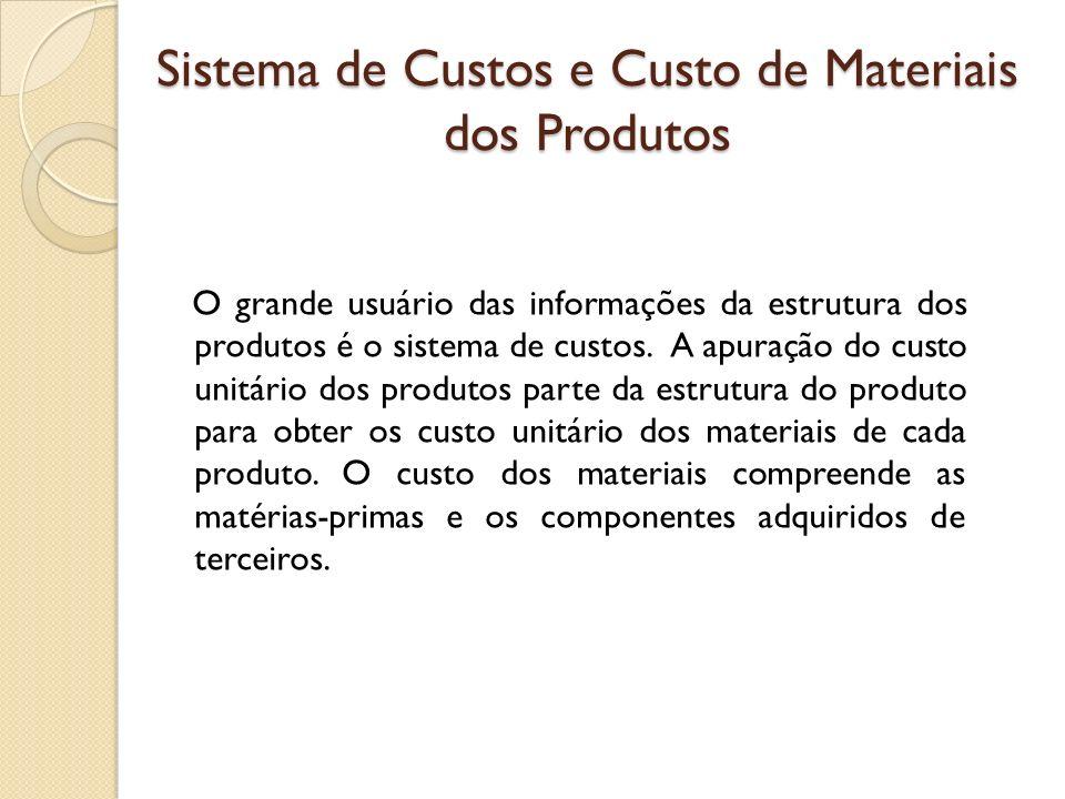 Sistema de Custos e Custo de Materiais dos Produtos O grande usuário das informações da estrutura dos produtos é o sistema de custos. A apuração do cu
