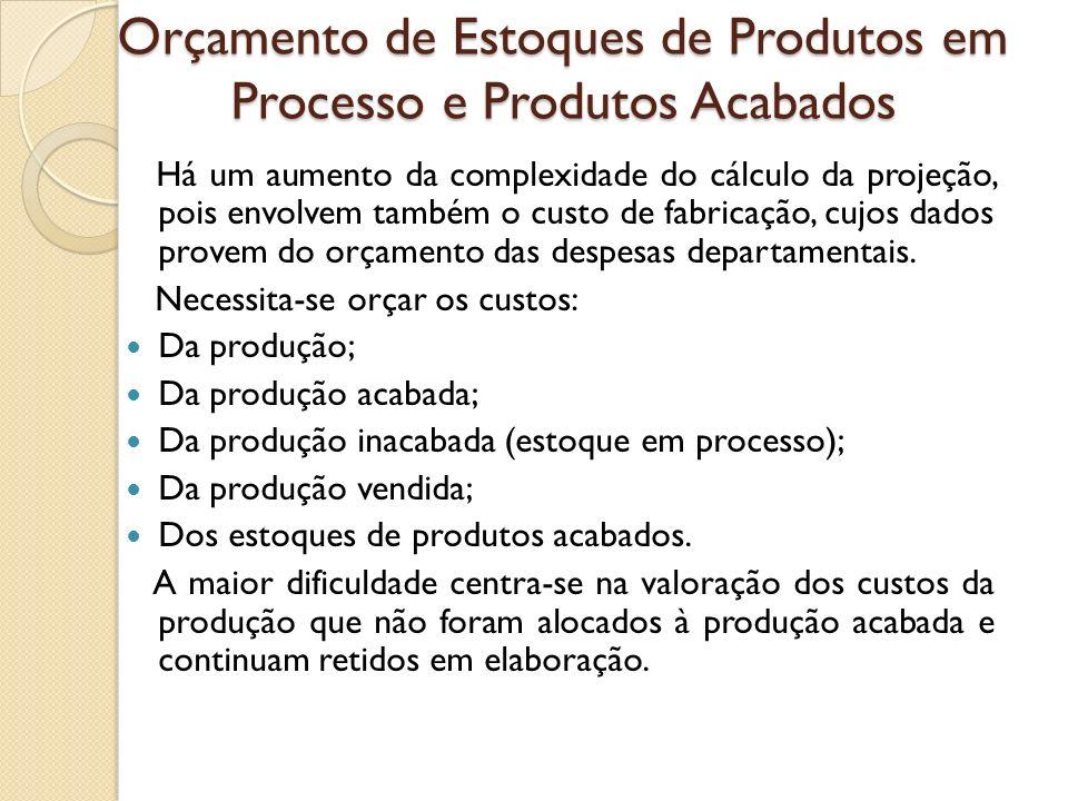 Orçamento de Estoques de Produtos em Processo e Produtos Acabados Há um aumento da complexidade do cálculo da projeção, pois envolvem também o custo d