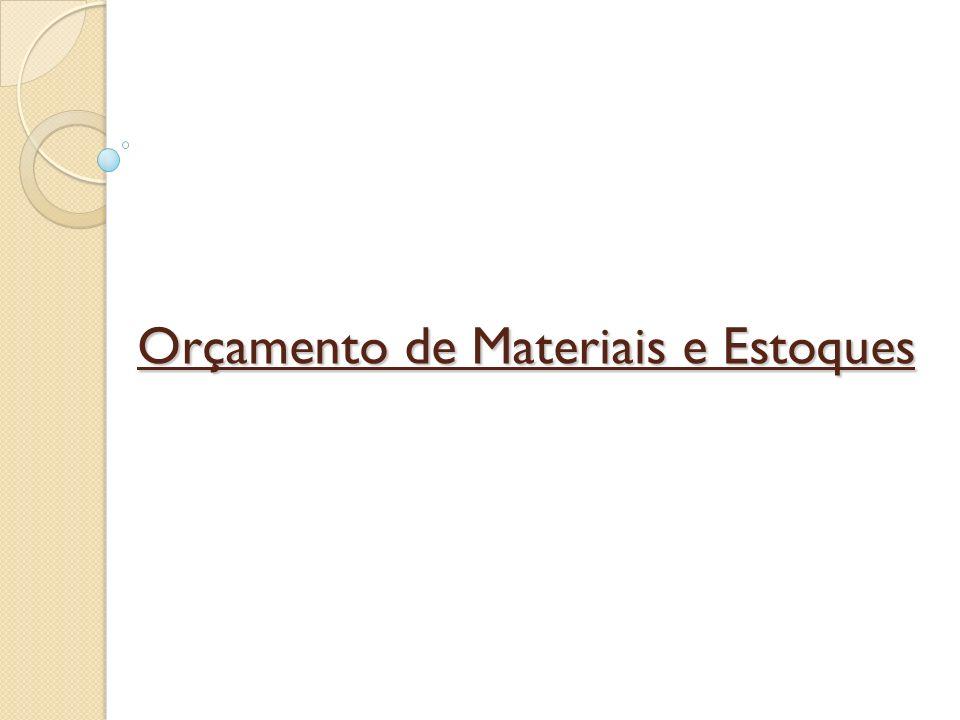 O orçamento de materiais compreende quatro peças: Consumo de materiais: que indica o custo dos materiais que serão consumidos pelo programa de produção.