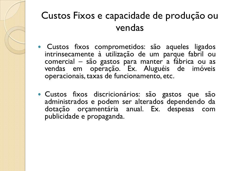 Custos Fixos e capacidade de produção ou vendas Custos fixos comprometidos: são aqueles ligados intrinsecamente à utilização de um parque fabril ou co
