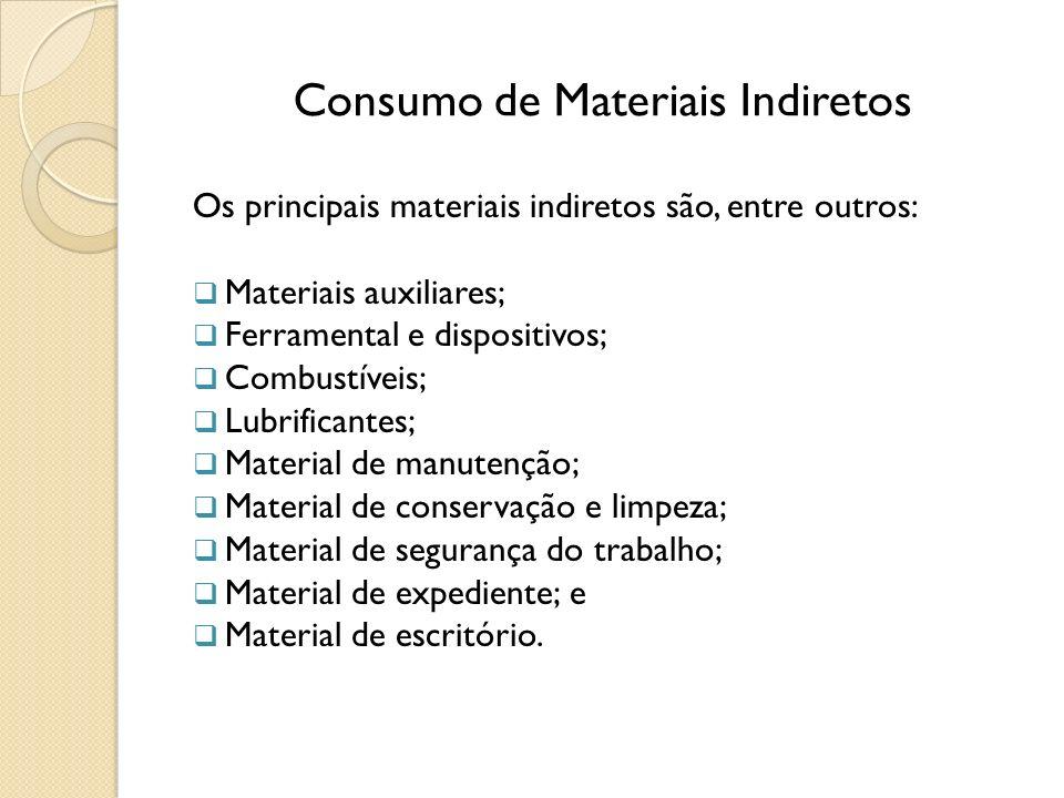 Consumo de Materiais Indiretos Os principais materiais indiretos são, entre outros: Materiais auxiliares; Ferramental e dispositivos; Combustíveis; Lu