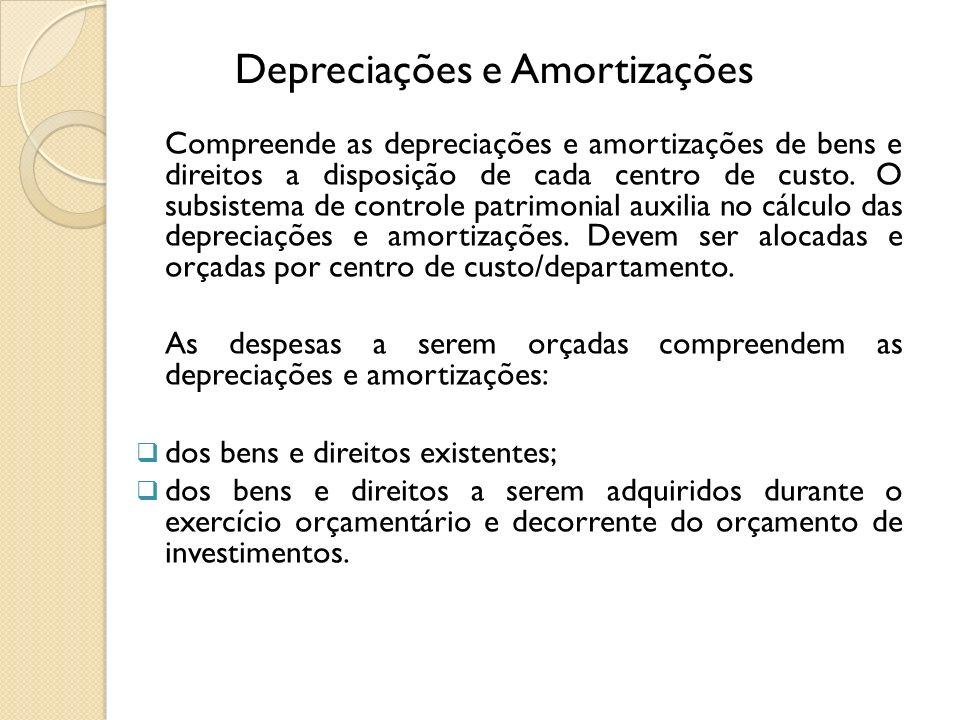 Depreciações e Amortizações Compreende as depreciações e amortizações de bens e direitos a disposição de cada centro de custo. O subsistema de control