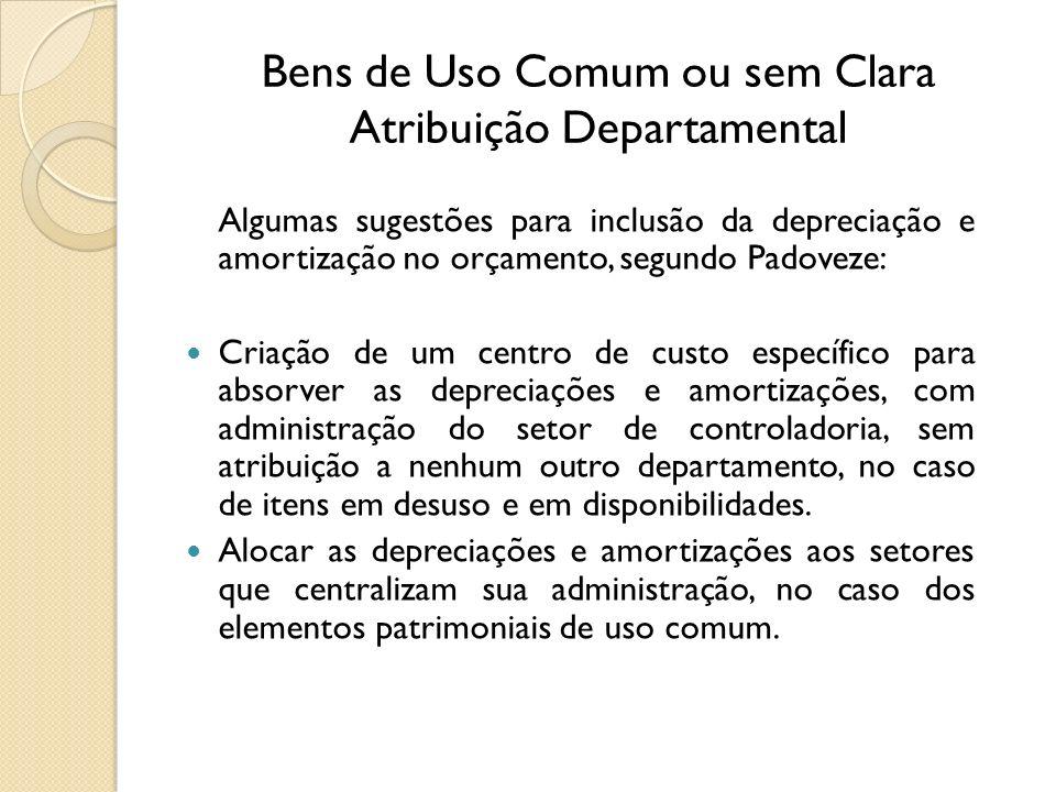 Bens de Uso Comum ou sem Clara Atribuição Departamental Algumas sugestões para inclusão da depreciação e amortização no orçamento, segundo Padoveze: C