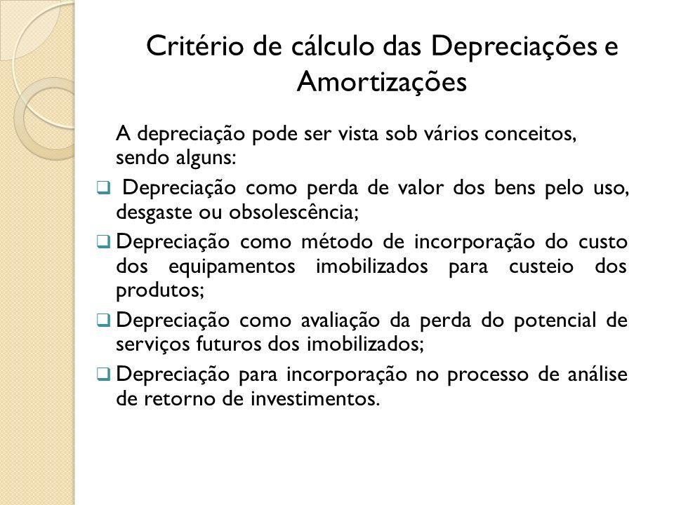 Critério de cálculo das Depreciações e Amortizações A depreciação pode ser vista sob vários conceitos, sendo alguns: Depreciação como perda de valor d
